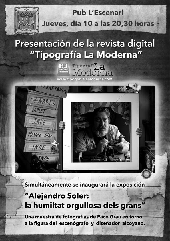 """""""Tipografía La Moderna"""" se presenta con una exposición fotográfica de Paco Grau sobre la figura de Alejandro Soler"""