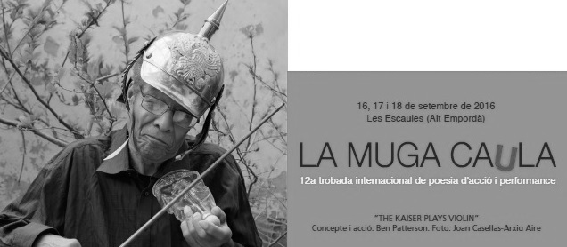 Josep Sou, poeta experimental  i col•laborador habitual de Tipografia La Moderna, participa en la 12a trobada internacional de poesia d'acció i performance 'La Muga Caula'